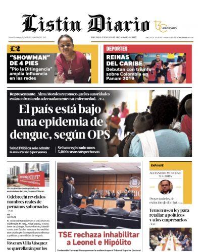 Portada Periódico Listín Diario, Jueves 08 de Agosto, 2019