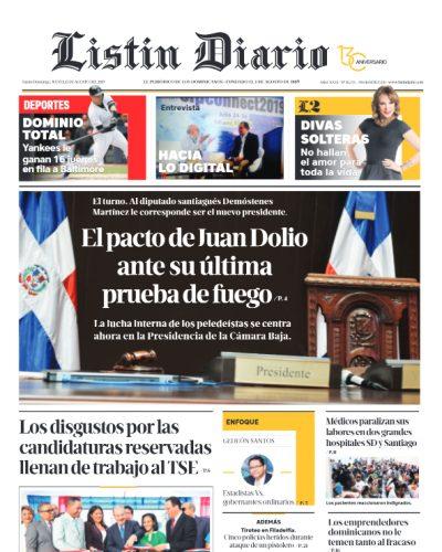 Portada Periódico Listín Diario, Jueves 15 de Agosto, 2019