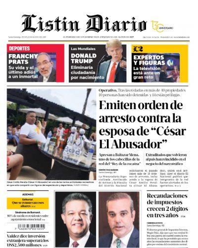 Portada Periódico Listín Diario, Jueves 22 de Agosto, 2019