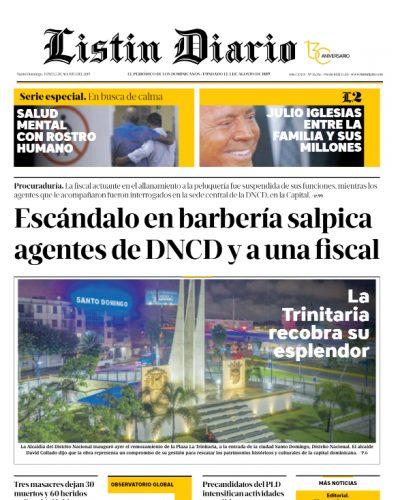 Portada Periódico Listín Diario, Lunes 05 de Agosto, 2019