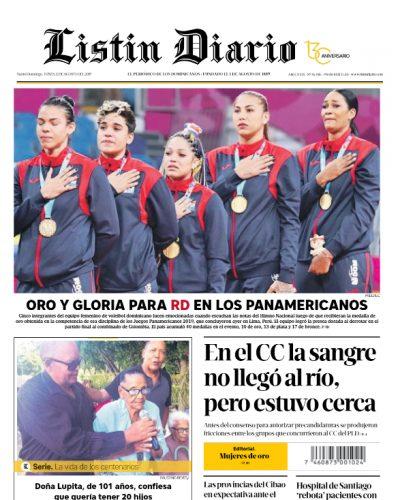 Portada Periódico Listín Diario, Lunes 12 de Agosto, 2019