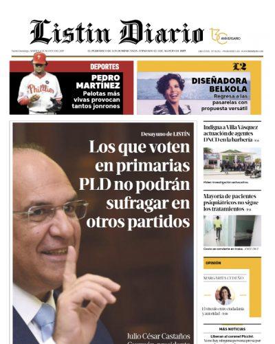 Portada Periódico Listín Diario, Martes 06 de Agosto, 2019