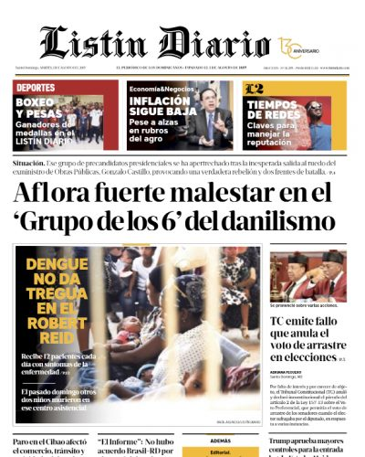 Portada Periódico Listín Diario, Martes 13 de Agosto, 2019