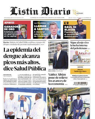Portada Periódico Listín Diario, Miércoles 14 de Agosto, 2019
