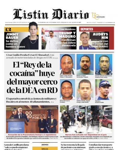 Portada Periódico Listín Diario, Miércoles 21 de Agosto, 2019