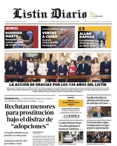 Portada Periódico Listín Diario, Viernes 02 de Agosto, 2019