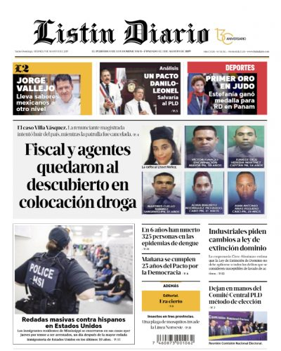 Portada Periódico Listín Diario, Viernes 09 de Agosto, 2019