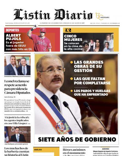 Portada Periódico Listín Diario, Viernes 16 de Agosto, 2019