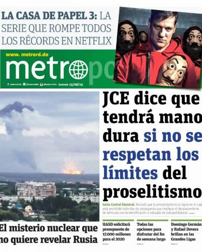 Portada Periódico Metro, Jueves 15 de Agosto, 2019