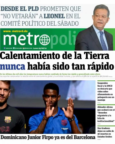 Portada Periódico Metro, Lunes 05 de Agosto, 2019