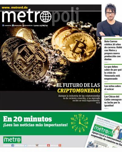Portada Periódico Metro, Lunes 12 de Agosto, 2019
