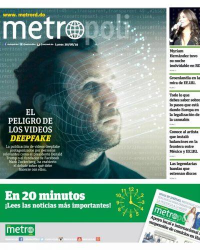 Portada Periódico Metro, Lunes 26 de Agosto, 2019