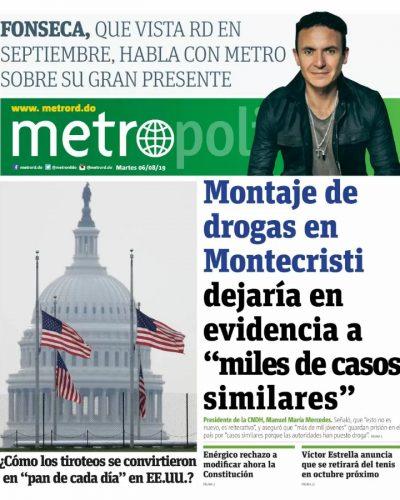 Portada Periódico Metro, Martes 06 de Agosto, 2019