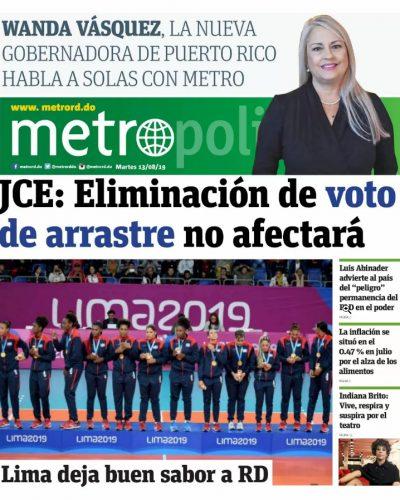 Portada Periódico Metro, Martes 13 de Agosto, 2019