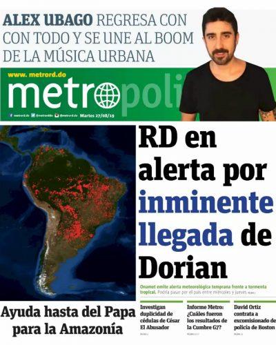 Portada Periódico Metro, Martes 27 de Agosto, 2019