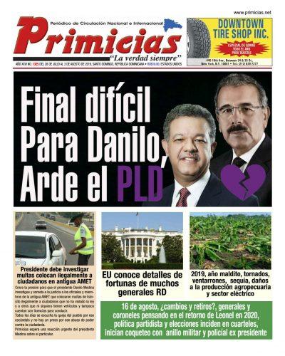 Portada Periódico Primicias, Lunes 05 de Agosto, 2019