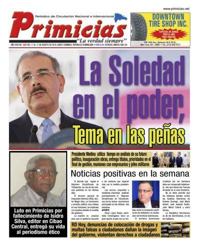 Portada Periódico Primicias, Lunes 12 de Agosto, 2019
