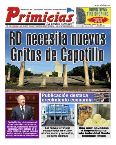 Portada Periódico Primicias, Lunes 19 de Agosto, 2019