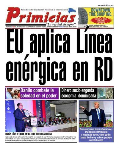 Portada Periódico Primicias, Lunes 26 de Agosto, 2019