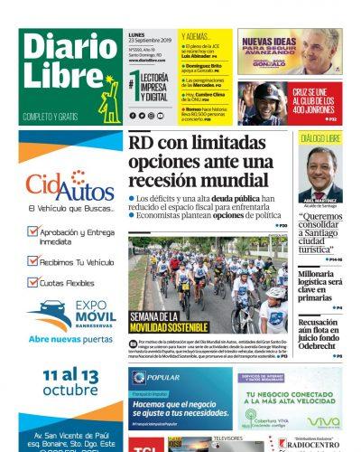Portada Periódico Diario Libre, Lunes 23 de Septiembre, 2019