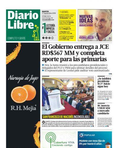 Portada Periódico Diario Libre, Martes 17 de Septiembre, 2019