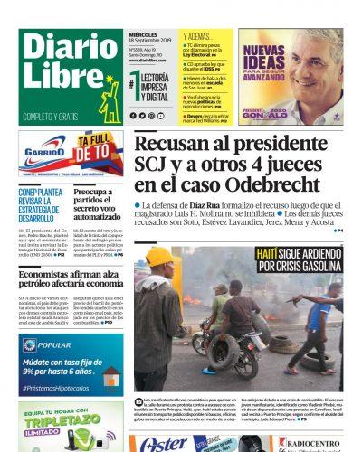 Portada Periódico Diario Libre, Miércoles 18 de Septiembre, 2019