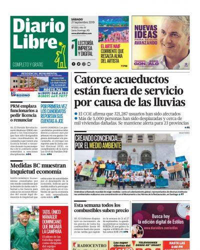 Portada Periódico Diario Libre, Sábado 21 de Septiembre, 2019