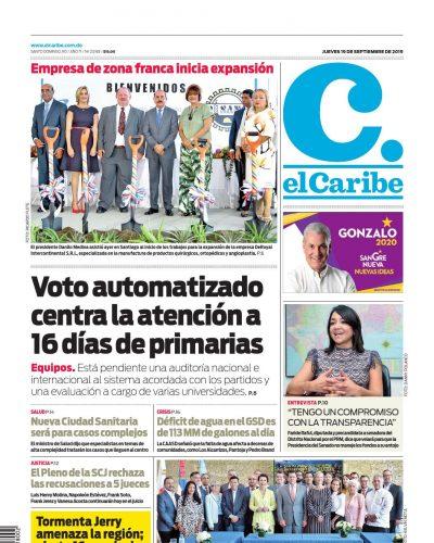 Portada Periódico El Caribe, Jueves 19 de Septiembre, 2019