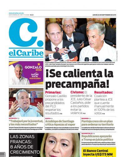 Portada Periódico El Caribe, Jueves 26 de Septiembre, 2019
