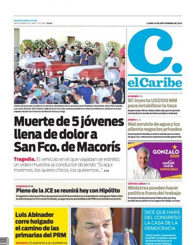 Portada Periódico El Caribe, Lunes 16 de Septiembre, 2019