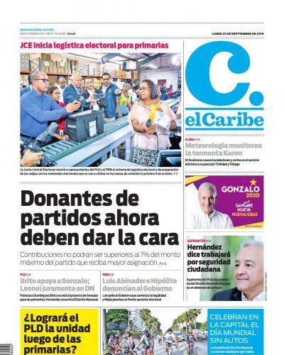 Portada Periódico El Caribe, Lunes 23 de Septiembre, 2019