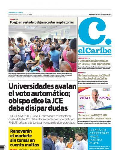 Portada Periódico El Caribe, Lunes 30 de Septiembre, 2019