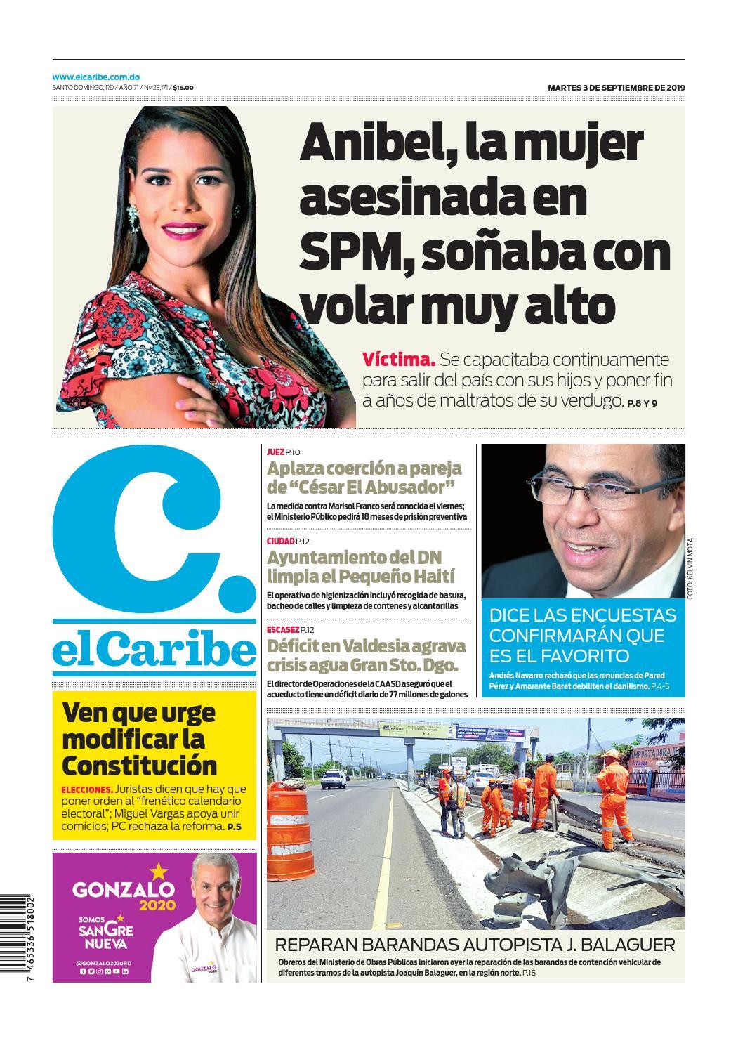 Portada Periódico El Caribe, Martes 03 de Septiembre, 2019