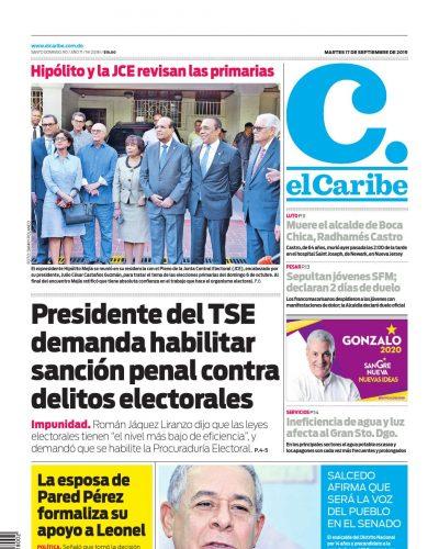 Portada Periódico El Caribe, Martes 17 de Septiembre, 2019