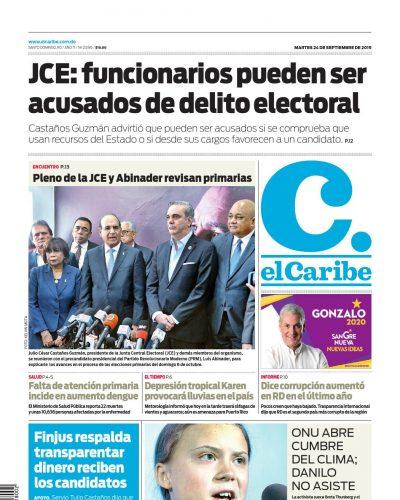Portada Periódico El Caribe, Martes 24 de Septiembre, 2019