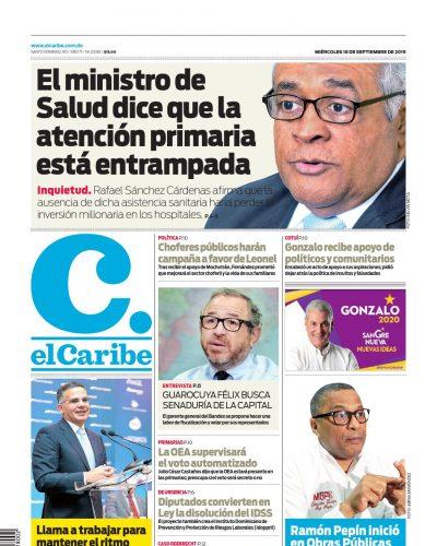 Portada Periódico El Caribe, Miércoles 18 de Septiembre, 2019