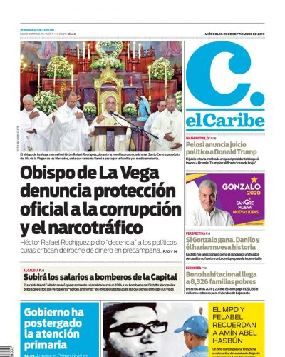 Portada Periódico El Caribe, Miércoles 25 de Septiembre, 2019