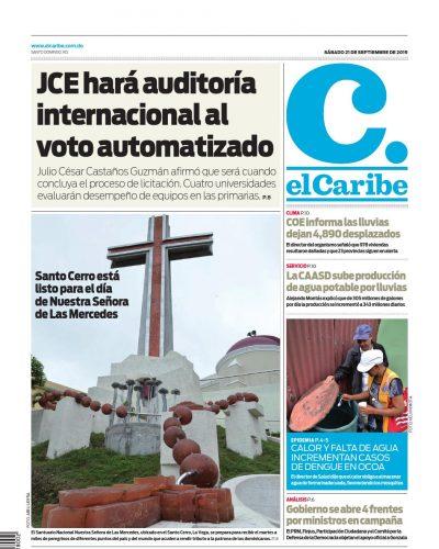 Portada Periódico El Caribe, Sábado 21 de Septiembre, 2019