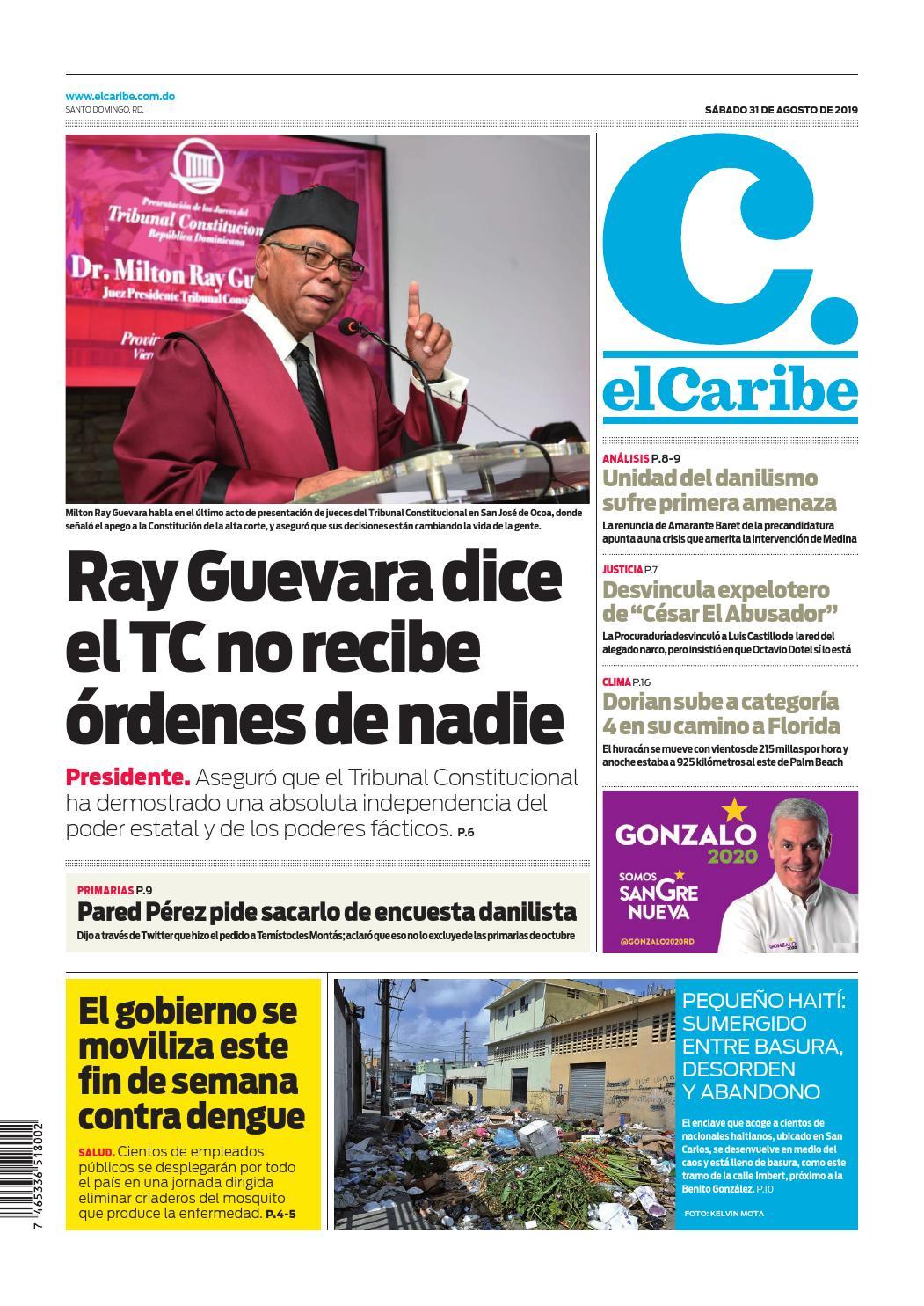 Portada Periódico El Caribe, Sábado 30 de Agosto, 2019