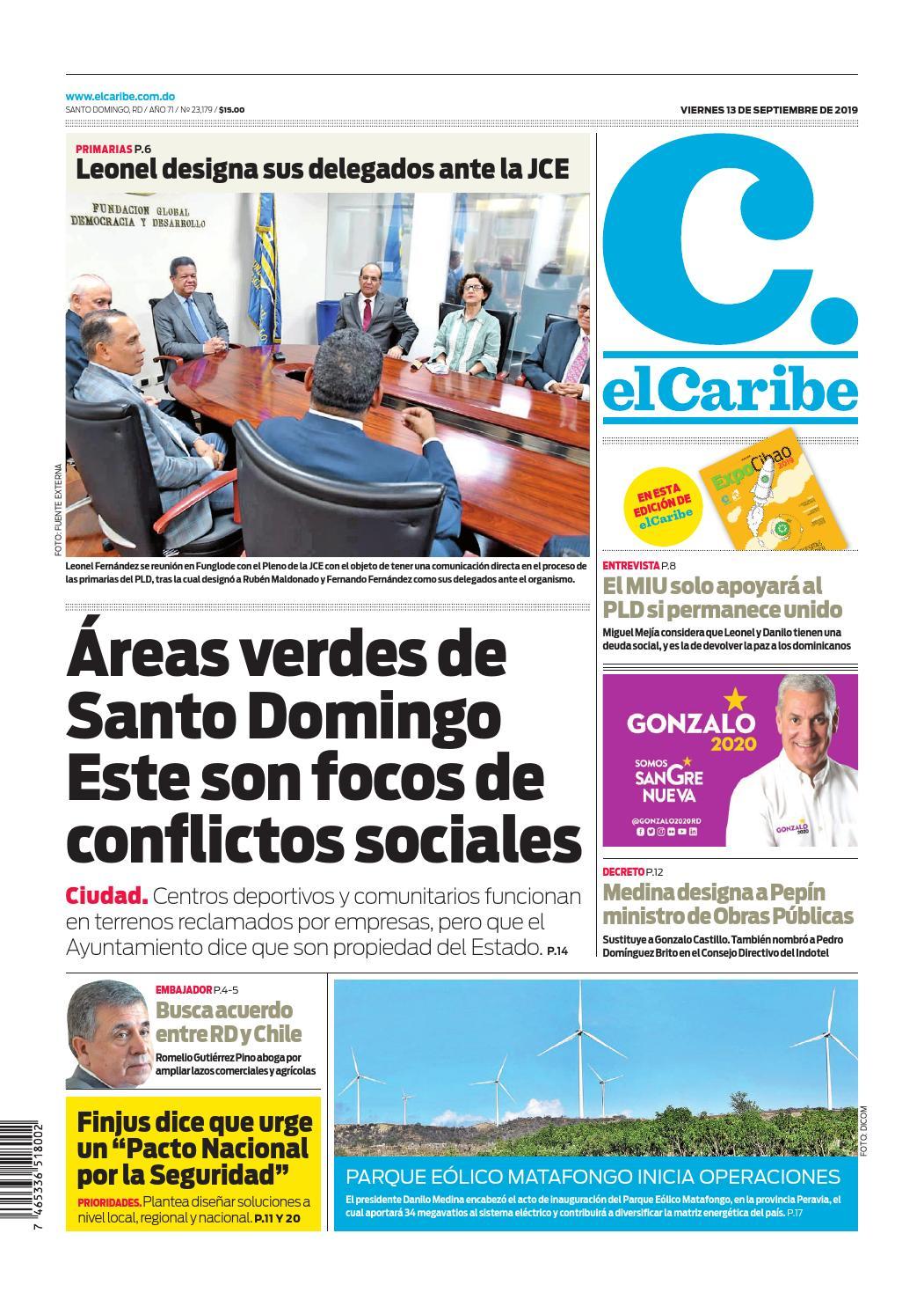 Portada Periódico El Caribe, Viernes 13 de Septiembre, 2019