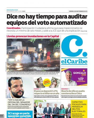 Portada Periódico El Caribe, Viernes 20 de Septiembre, 2019