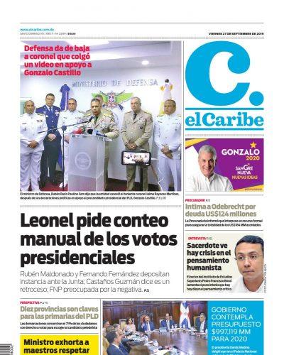 Portada Periódico El Caribe, Viernes 27 de Septiembre, 2019