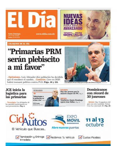 Portada Periódico El Día, Lunes 23 de Septiembre, 2019