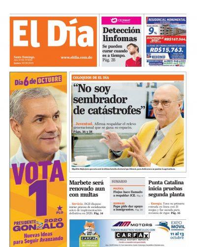 Portada Periódico El Día, Lunes 30 de Septiembre, 2019