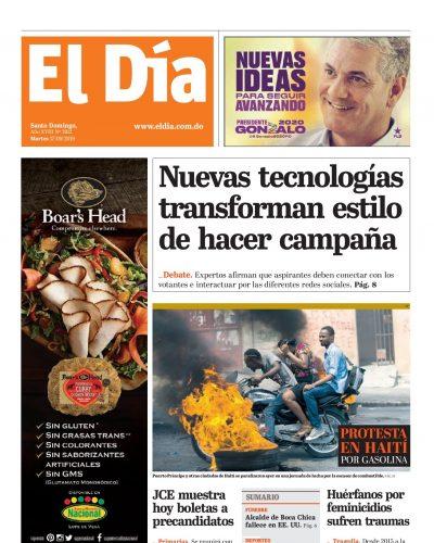 Portada Periódico El Día, Martes 17 de Septiembre, 2019