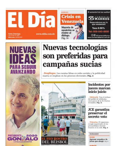 Portada Periódico El Día, Miércoles 18 de Septiembre, 2019