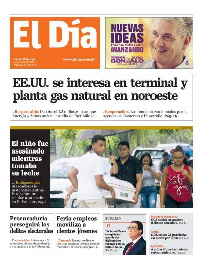 Portada Periódico El Día, Viernes 20 de Septiembre, 2019