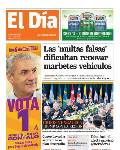 Portada Periódico El Día, Viernes 27 de Septiembre, 2019