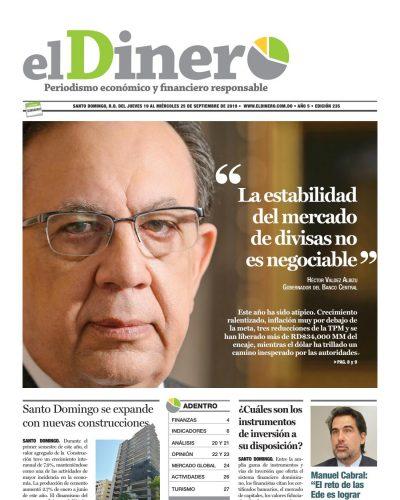 Portada Periódico El Dinero, Jueves 19 de Septiembre, 2019