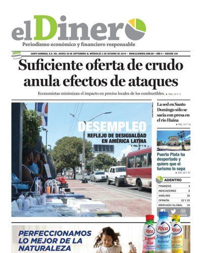 Portada Periódico El Dinero, Jueves 26 de Septiembre, 2019